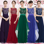 Women's US Elegant Round Neck Long Prom Evening Party Gown Formal Dresses 08217