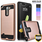 For LG Stylo 2 V Plus Shockproof Phone Case Cover, +Tempered Glass Protector