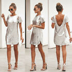 US Women Backless Sequin Glitter Twinkle Party Evening Cocktail Short Mini Dress