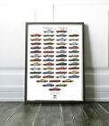 Ford Mustang Car Poster Print Wall Art Through The Years Classic Car Retro A4