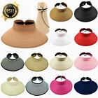 Womens Summer Sun Straw Visor Hat Fold able Roll Up Wide Big Brim Open Top Cap