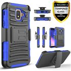 For Samsung Galaxy A6 J2 Pure Core Belt Clip Phone Case+Tempered Glass Protector