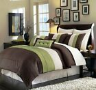 8-Piece Luxury Pintuck Pleated Stripe Green, Brown, and Beige Comforter Set image
