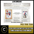 2019 TOPPS DEFINITIVE COLLECTION 3 BOX (FULL CASE) BREAK #A428 - PICK YOUR TEAM on Ebay