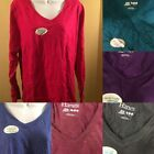 Hanes Women's Long-Sleeve V-Neck T-Shirt Tee 100% Cotton Top Tag Free sz S-XL