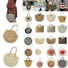 Women Straw Bag Retro Rattan Handbag Woven Summer Beach Shoulder Bags Round Bag