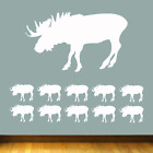 Moose Shapes Vinyl Wall / Car Stickers 10 Pack In 5 Sizes + 15 Colours
