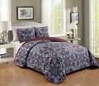 3 Piece Embroidery Reversible Multicolor Floral Bedspread Quilt Queen King image