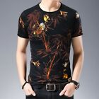 Men's Chinese style Short sleeve Bamboo Printed Crew neck Slim fit T shirts Chic