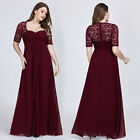 Ever-pretty US Burgundy Lace Formal Cocktail Gown Half Sleeve Evening Party Prom