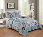 3 Piece Embroidery Reversible Floral Patchwork Print Bedspread Set Queen King  image
