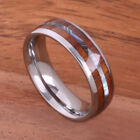 Tungsten Carbide Abalone Koa Wood Ring Barrel Shape Comfort-fit Mens ring 6mm image