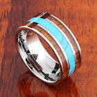 Extra Wide Tungsten Koa Wood Turquoise Ring Flat Mens Ring 10mm TUR4030 image