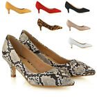 Womens Low Kitten Heel Pumps Ladies Pointed Toe Courts Work Office Evening Shoes