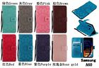 Flower Pu Leather Wallet Credit Card Slot Flip Stand Cell Phone Case Hand Strap