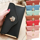 Women Long Leather Thin Wallet Cute Crown Purse Multi ID Credit Card Holder Gift image