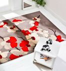 INFINITE BLOSSOM FLORAL THICK HAND CARVED GREY OCHRE PINK RED RUG & ROUND CARPET