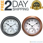 Large Wall Clock Indoor Outdoor Battery Powered Analog with Clock Thermometer