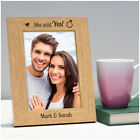 PERSONALISED Engagement Gifts She Said Yes Engraved Wooden Photo Frame Couples