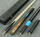 "Grand-Cues--Handmade 58""  3/4 Piece Black Ebony+Sapele Snooker/Pool Cue Set@YP47"