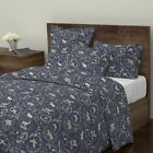Toile Deer Stag Rabbit Owl Toile Christmas Navy Sateen Duvet Cover by Roostery for sale  USA