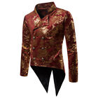 Men Vintage Steampunk Tailcoat Jacket Gothic Victorian Frock Coat Cosplay Suit