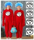 Mens Womens Child Thing 1 Thing 2 Costume 3 4 Cat In The Hat Jumpsuit Book Week
