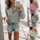Ladies Casual V Neck Henley Shirts Pocket Ribbed Long Sleeve Button Down Tops