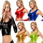 Sexy High Waist Bikini Tank Crop Top Bra Shirt Pu Metallic Leather No Gloves Oz