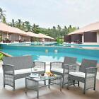 Patio Furniture Set Outdoor Garden Lawn Pool PE Rattan Sofa Chairs Glass Table $282.95 USD on eBay