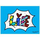 "Britto ""Life Blue Mini Word"" Hand Signed Canvas; Authenticated"