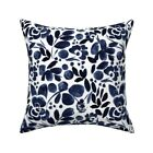 Blue Floral Watercolor Vintage Throw Pillow Cover w Optional Insert by Roostery