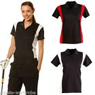 LADIES WOMENS ROSSDALE SPORTS GOLF CRICKET BLACK SHORT SLEEVE POLO TSHIRT TOP