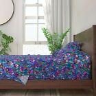 Watercolor Irises + Butterflies Stained 100% Cotton Sateen Sheet Set by Roostery image