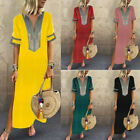 USA Summer Fashion Women Lasy Short Sleeve Long Dress T-Shirt Maxi Dresses S-5XL for sale  USA
