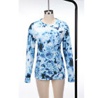 Women's Ivory Ella Long Sleeve Shirts Crew Neck Printed Blouse Casual Loose Tops
