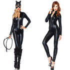 Black Vinly Faux Leather Wet Look Zipper Bandage Catsuit Catwoman Mask Bodysuit