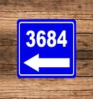 """Personalized Home Address Sign Aluminum 8"""" x 8"""" Custom House Number Left Arrow"""