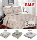 3PC, Regal Home Collections Damask Queen Size Quilt Set (One Quilt+Two Pillow) image