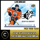 2018-19 UPPER DECK SPX HOCKEY - 5 BOX ( 1/2 CASE) BREAK #H429 - PICK YOUR TEAM -