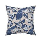 Peacock Floral Chinoiserie Throw Pillow Cover w Optional Insert by Roostery