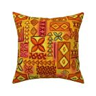 Mid Century Polynesian Tiki Throw Pillow Cover w Optional Insert by Roostery