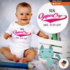 Baby Grows 0-3 3-6 Months Personalised Real Supercry With Date All Sizes Top