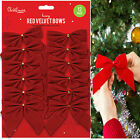 🔥 12 Pack Large 12cm Red Velvet Bows Christmas Tree Decoration Presents Wrath
