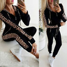 2PCS Women Leopard Tracksuit Hoodies Sweatshirt Pants Set Warm Jogging Wear Suit