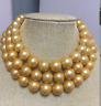 huge elegant 14-15mm round south sea gold pearl necklae 38inch 14k