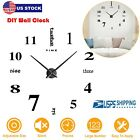 3D DIY Large Frameless Wall Clock Number Sticker Modern Home Decal Home Decor US