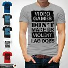Video Games Don't Make Us Violent Gamer t Shirt PC Gamer FPS Video Game Gray