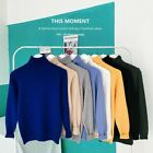 Mens Knitted Warm Turtleneck Sweaters Solid Jumper Casual Loose Pullover Tops