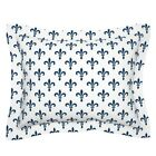 Gothic Fleur De Lis Lys Medieval Blue And White Lonely Pillow Sham by Roostery image